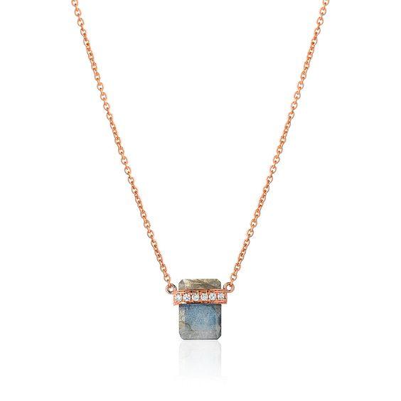 Diamond Wrapped Flat Emerald Cut Labradorite Necklace