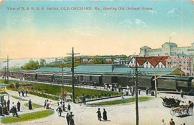 Old Orchard Beach Maine ME 1910 Boston and Maine Railroad Depot Vintage Postcard