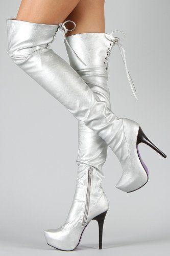 45.00 Shoehorne Sheryl-06 - Womens Metallic Silver Thigh High