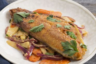 Crispy Catfish with Dressed Root Vegetables http://bit.ly/2g12LPv
