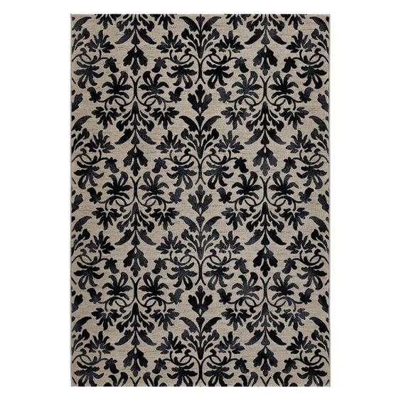 Have to have it. Couristan Everest 6316/6333 Retro Damask Area Rug - Grey/Black - $699 @hayneedle