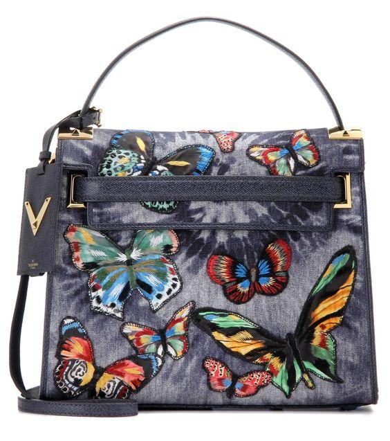 Valentino - Tasche My Rockstud - blauer Denim  mit Schmetterlingsstickerei