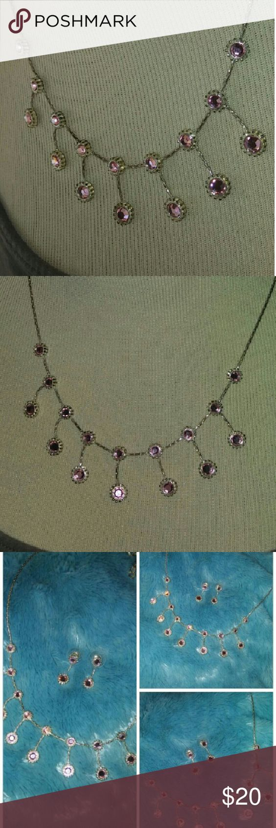 Sparkle pink necklace set Lovely pink necklace with matching earrings Jewelry Necklaces
