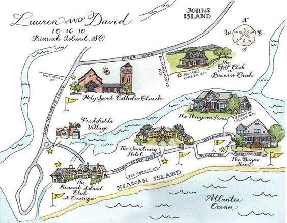 Custom Wedding Map- drawn, painted, and lettered by hand. $350.00, via Etsy.