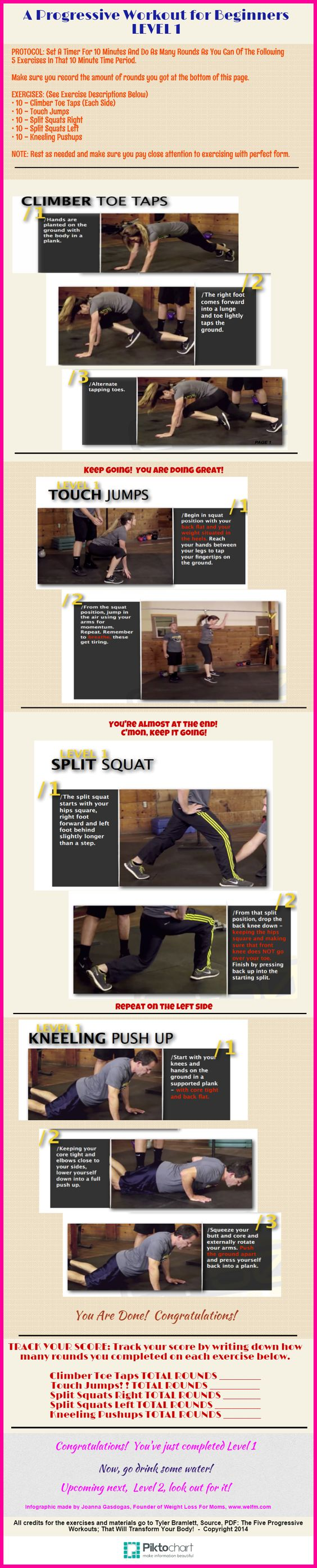A workout for beginners using your own body weight.  Designed for weight loss and toning.  Infographic by: www.welfm.com