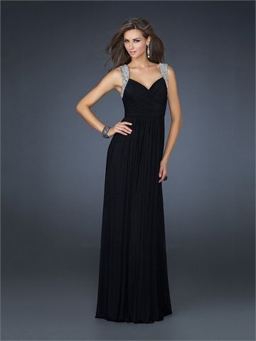 Elegant V-neckline with Beadings Floor Length Chiffon Homecoming Dress HD1494  http://www.homecomingstore.com