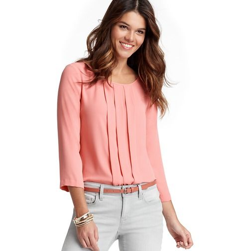 Loft - LOFT Tops - Box Pleat 3/4 Sleeve Blouse in Horizon Pink ...