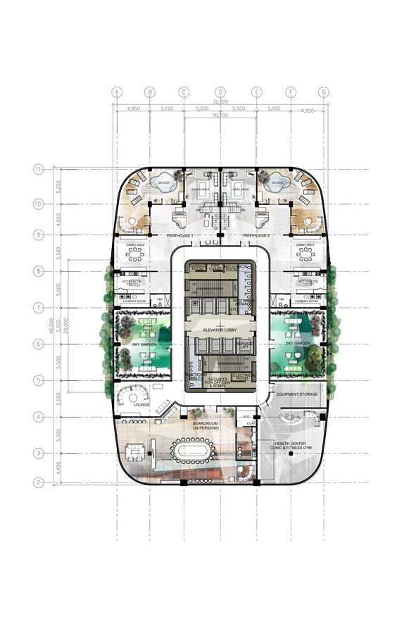 47th floor penthouse design 8 proposed corporate for Corporate office layout