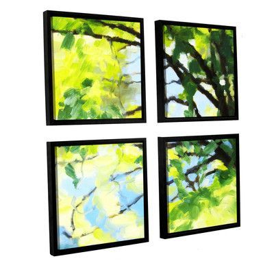 """August Grove Bright Tree And Blue 4 Piece Framed Painting Print Set Size: 48"""" H x 48"""" W x 2"""" D"""