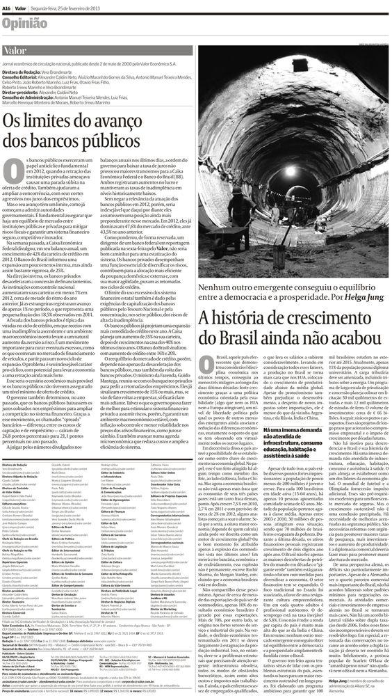Título: A história do crescimento do Brasil ainda não acabou; Veículo: Valor Econômico; Data: 25/02/2013; Cliente: Allianz.