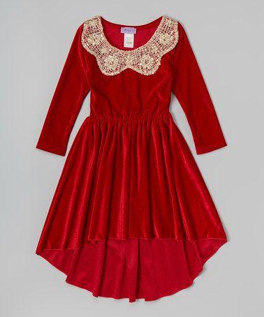 Maya Fashion Red Velvet Hi-Low Dress - Toddler  Red velvet ...
