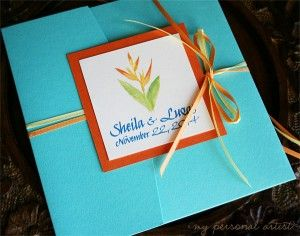 Orange + Aqua Blue tropical wedding invitations folder