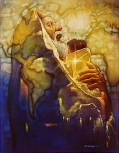 "This is Ron Dicianni's picture of ""Simeon's Moment"" where Simeon held Jesus when he was dedicated to the Lord...  Love this!"
