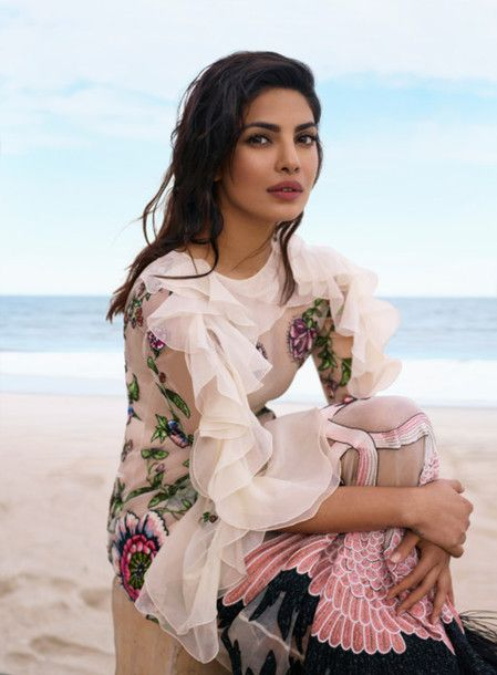 Dress: tumblr ruffle ruffle white mesh mesh floral embroidered embroidered editorial priyanka chopra