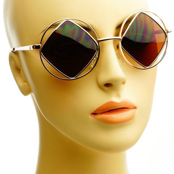 Hippie Indie Designer Retro Vintage Style Gold Metal Round Sunglasses Shades