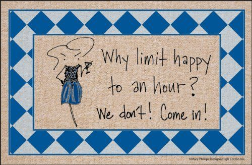 """Why Limit Happy Doormat by High Cotton Inc.. $19.99. Easy care; wash with hose and a brush. Dry flat.. Doormat is 18"""" x 27"""". Perfect bound stitched edges.. Practical and useful. Great gift.. Doormat: Why Limit Happy doormat - Humorous, durable doormat. A great way to welcome guests. Manufactured in USA."""