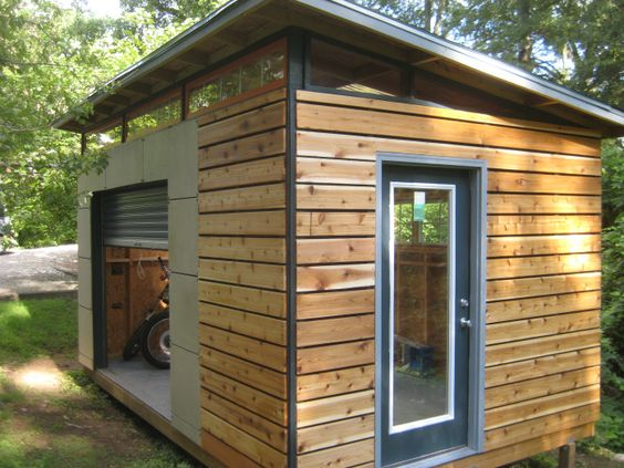 diy modern shed project. Possibly one day for backyard wood shop / lawn tool storage shed. I like the abundance of light with the windows and roof.