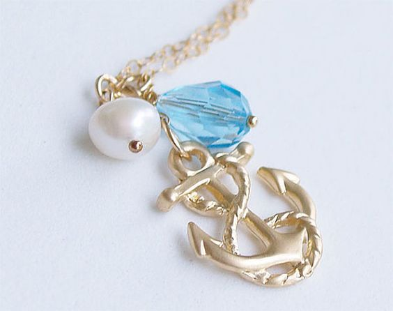 Anchor Necklace in Gold  Swarovski Aquamarine by FiveThirty, $24.00
