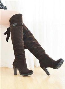 グラマーラウンドトゥチャンキーヒール大きいサイズのブーツ