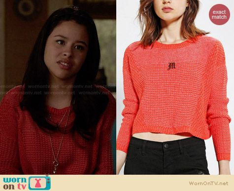 Mariana's red cropped sweater on The Fosters. Outfit Details: http://wornontv.net/27571 #TheFosters #fashion