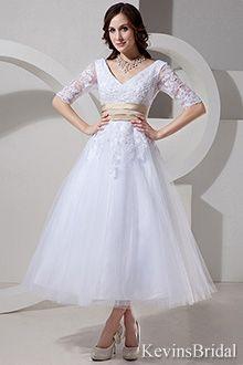half sleeve, tea length gowns - KB0356  pretty in aqua