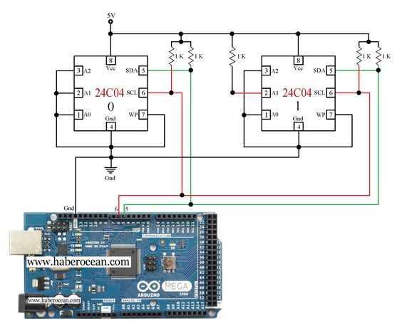 Circuit to Control two 24C04 ICs through Single Bus System using Arduino Mega  Read more at:  http://www.haberocean.com/2014/12/circuit-to-control-two-24c04-ics-through-single-bus-system-using-arduino-mega-part-1/