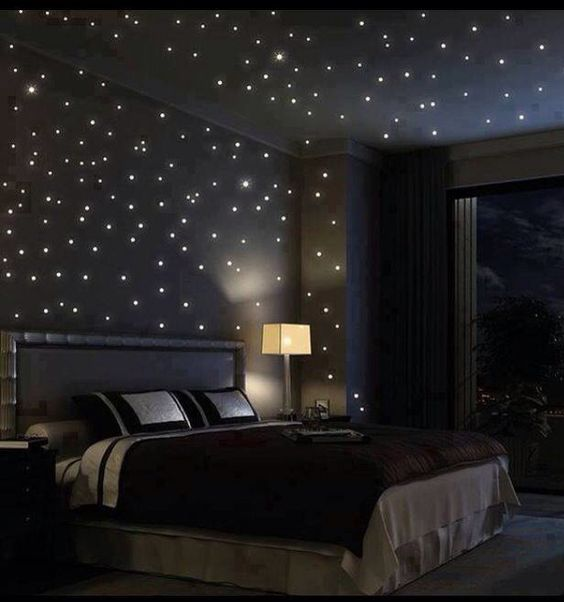 Bedroom with star lights lighting up the inside      DECORATIVE DESIGNS    Pinterest   Bedrooms  Bed bugs bites and Bedroom ceiling. Bedroom with star lights lighting up the inside      DECORATIVE