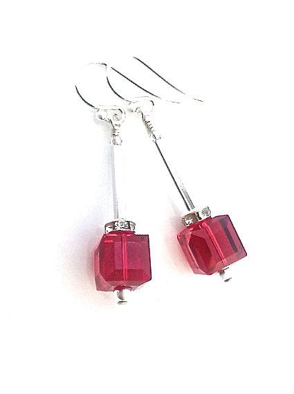 Red Crystal Earrings Swarovski Cube Sterling Silver by UrbanClink, $30.50