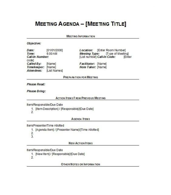 Meeting Agenda Template 16 Team ideas Pinterest Template - professional meeting agenda template