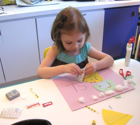 """Kids love our drop-in craft programs - they learn important skills and concepts while exercising their creativity. This was """"U is for Umbrella"""" in April 2012."""
