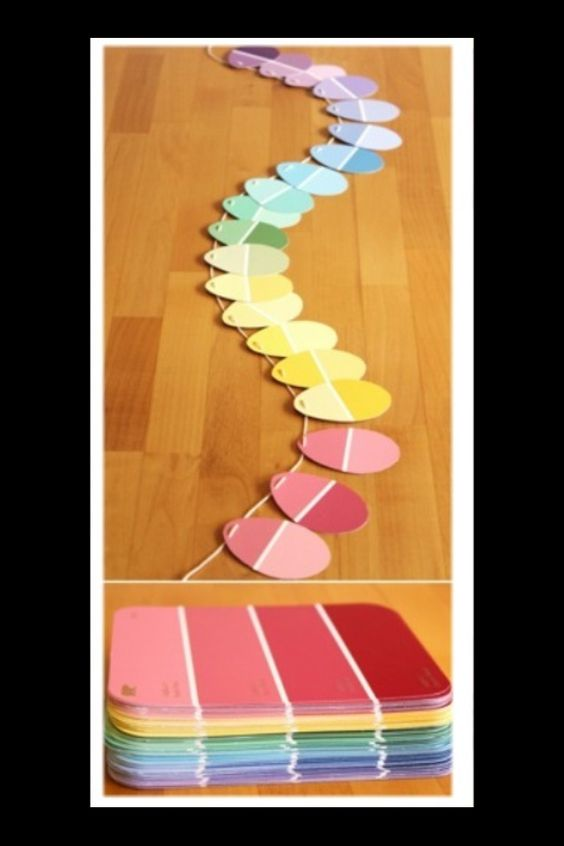 Easter Egg Garland made from oval cutouts of paint samples! #decor: