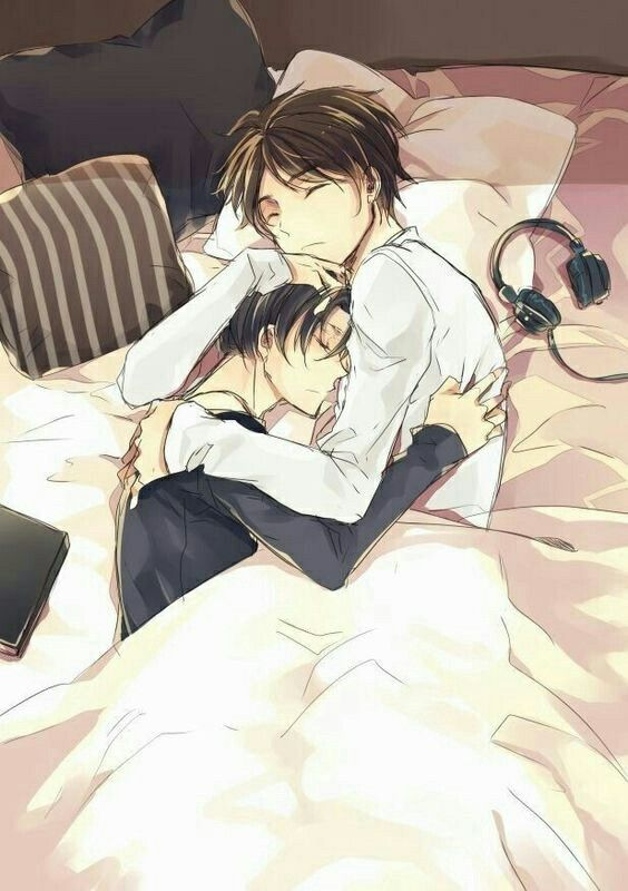 Eren, Levi, yaoi, EreRi, RiRen, sleeping, bed, cute, headphones; Attack on Titan: