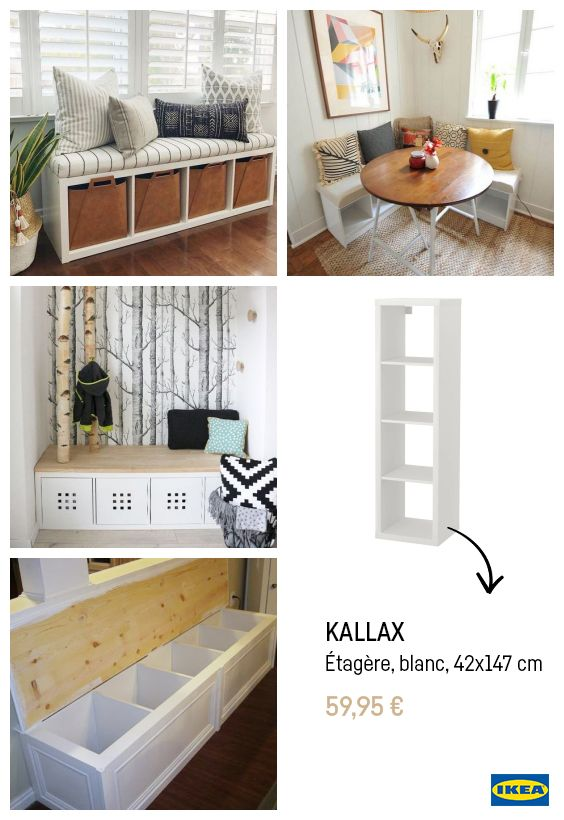 Ikea Hacks Creer Un Banc Avec Un Kallax Idee Deco Ikea Diy Meuble Ikea Meuble Rangement Ikea
