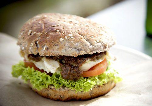 Tempura Tofu Burger w/ Chili Satay Sauce by veggienumnum #Tofu #Burger #veggienumnum