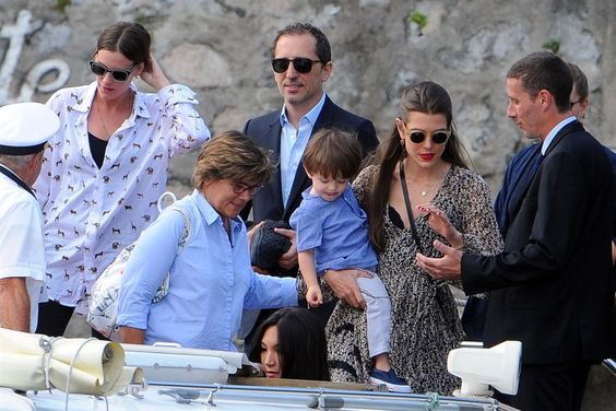 onemoreblogaboutroyals: Pre-Wedding Events of Pierre Casiraghi and Beatrice Borromeo, Italy, July 31, 2015-Gad Elmaleh, Charlotte Casiraghi and their son Raphaël Elmaleh