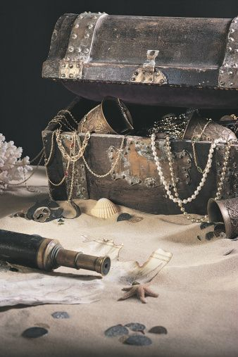 Treasure chest with spyglass and map
