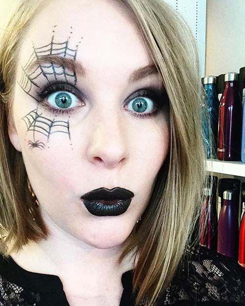 23 Easy, Last-Minute Halloween Makeup Looks: #11. SIMPLE SPIDER WEB MAKEUP; #halloweenmakeup