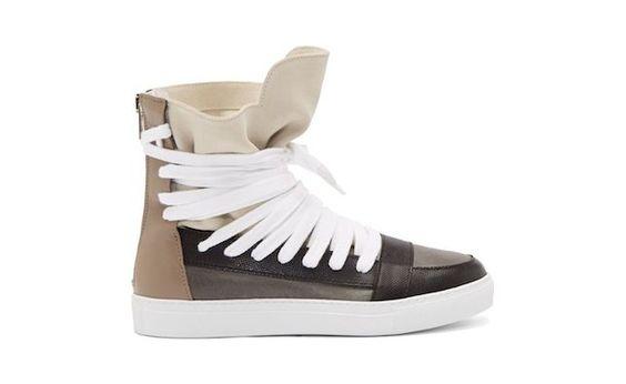 Krisvanassche Beige Leather Classic Multi Laces Sneakers