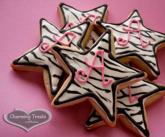 Zebra Stripe Monogram Cookies Stars