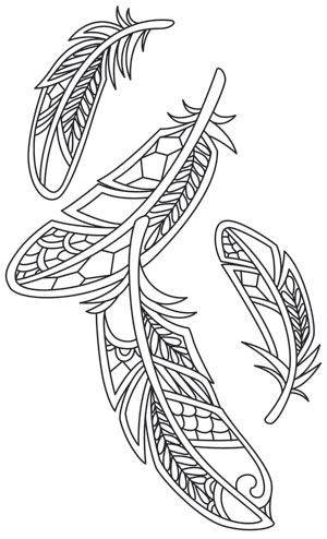 Federn federentwurf and stickerei on pinterest for Coloring pages of feathers
