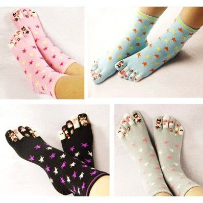 Cotton Stars Pattern Thick Toe Media Socks