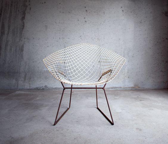 perfectly rusty bertoia diamond chair