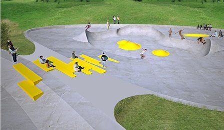 Rabalder Parken, Roskilde, Denmark. Worlds first skatepark combined with overflow water drainage system. Opened august 30th at #Musicon #klimatanpassning #gbgftw