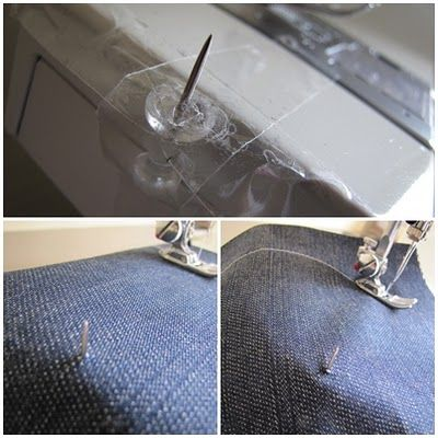"""""""Use a thumb tack & tape to sew perfect circles! """" How to sew a circle using a thumbtack and tape. The fabric pivots around the pin/thumbtack as you sew it"""