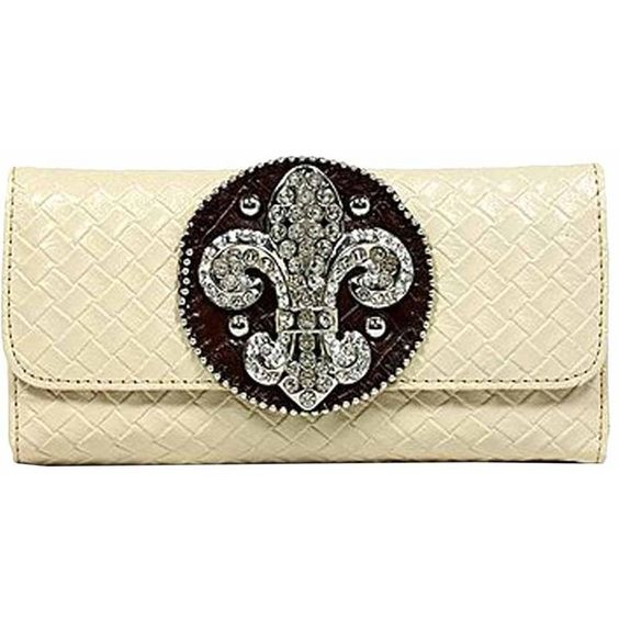 Ivory Long Checkbook Wallet With Rhinestone Fleur De Lis (€15) ❤ liked on Polyvore featuring bags, wallets, ivory, women, fleur de lis wallet, brown bag, long wallet, credit card holder wallet and flap bag