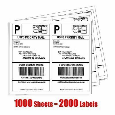 Ad Ebay 2000 Shipping Labels Half Sheet 8 5x5 5 Blank Self Adhesive For Usps 2 Sheet Labels Shipping Labels Custom Sticker Labels