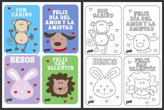 spanish language valentine s cards to color and print tarjetas para celebrar el d a de san. Black Bedroom Furniture Sets. Home Design Ideas