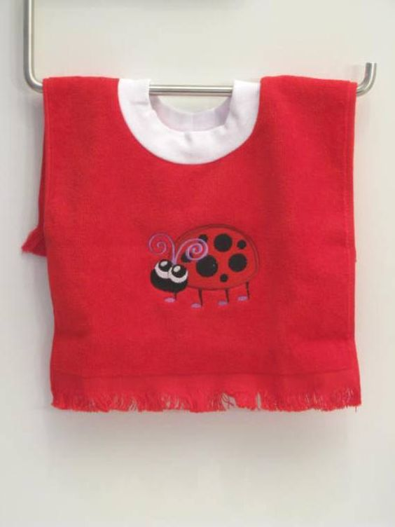 Embroidered Lady Bug Over The Head Baby Bib by StitchinStation