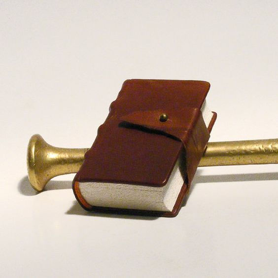 The Little Brownie - Hand bounded codex, traditional style book, diary, journal. Brown leather, folding strip, bronze ball, antiqued paper