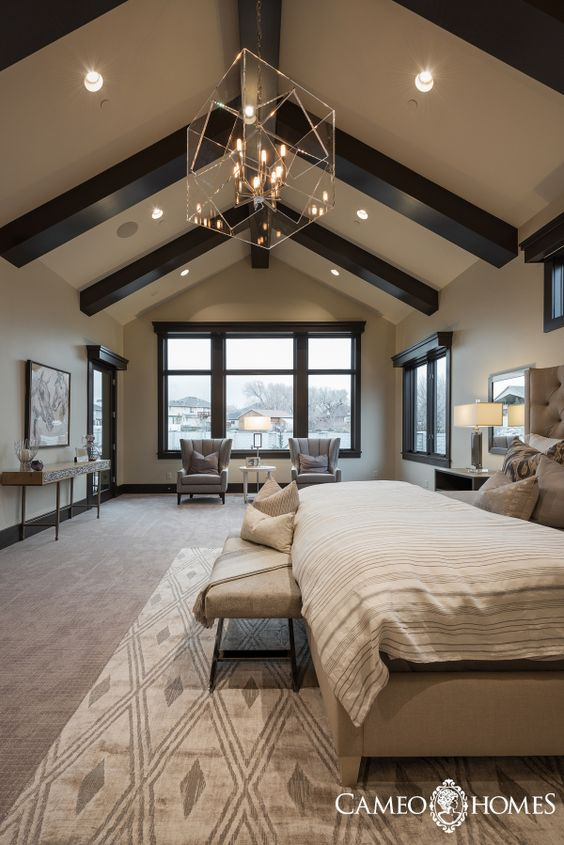 A Modern Rustic Master Bedroom In Utah By Cameo Homes Inc Luxury Home Builder
